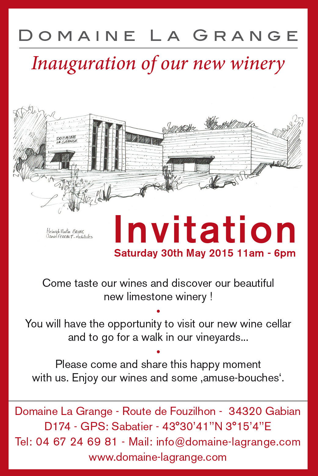 Only Four Days Until The Inauguration Of Our New Winery The